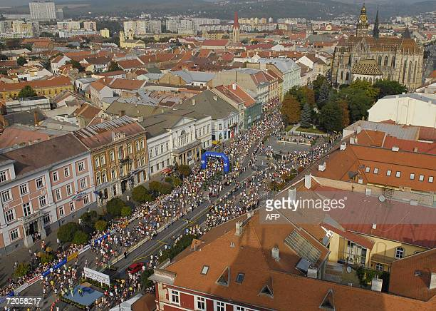 Overall view of runners taking part in the 83rd Peace Marathon near the start line in the eastern Slovakia city of Kosice 01 October 2006 Edwin...