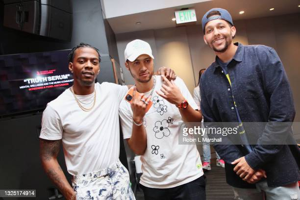 """Kosine, Zay T and Caliivision attend the Grammy Museum & Musicare """"Truth Serum"""" Screening and Panel Discussion at The GRAMMY Museum on June 23, 2021..."""
