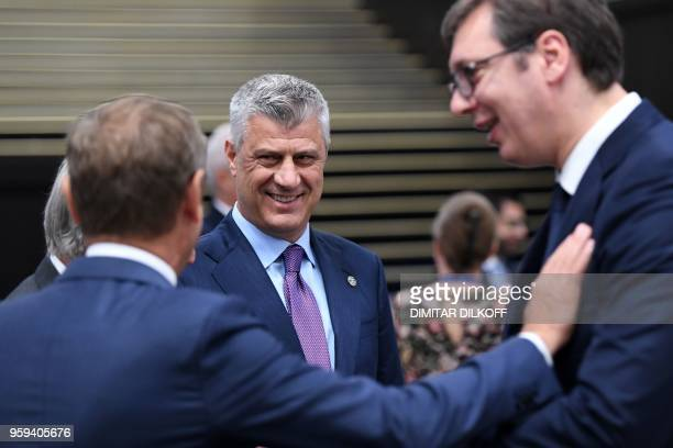 Kosovan President Hashim Thaci attends during the EUWestern Balkans Summit in Sofia on May 17 2018 European Union leaders meet their Balkan...