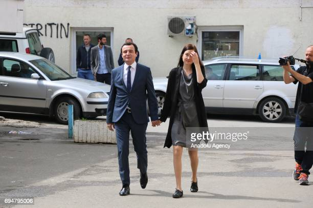 Kosovan Prime Minister candidate from the opposition party 'Vetevendosje' Albin Kurti arrives to cast his vote at a polling station during a snap...