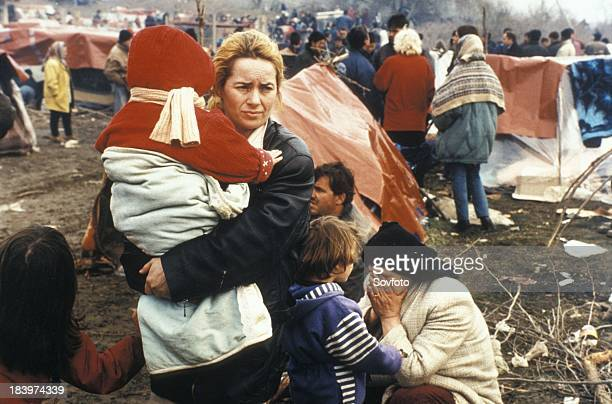 Kosovar Families Fleeing The War In Kosovo In An OverCrowded Refugee Camp In Blace Macedonia April 1999