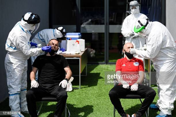 Kosovar football referees get tested for COVID19 at the Fadil Vokrri Stadium in Pristina on May 30 2020 Since March 14 all sporting events have been...
