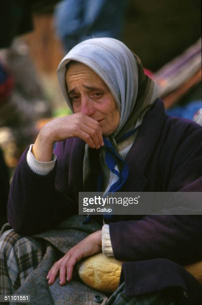 A Kosovar Refugee Breaks Down In Tears At Blace Macedonia April 5 1999 Between 30000 And 65000 Refugees Mostly Ethnic Albanians Fleeing Kosovo Were...