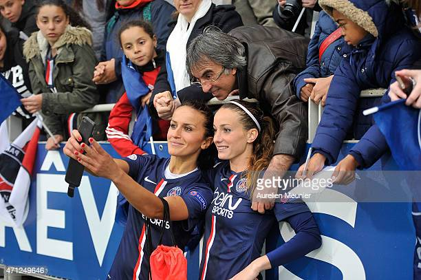 Kosovare Asllani and Fatmire Alushi of PSG celebrate the 21 victory over Wolfsburg during the UEFA Womens Champions League Semifinal game between...