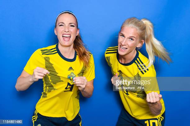 Kosovare Asllani and Sofia Jakobsson of Sweden pose for a portrait during the official FIFA Women's World Cup 2019 portrait session at Hotel Mercure...