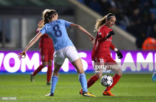 Kosovare Asllani of Linkoping beats Jill Scott of Manchester City Women during the UEFA Women's Champions League quarter final first leg match...