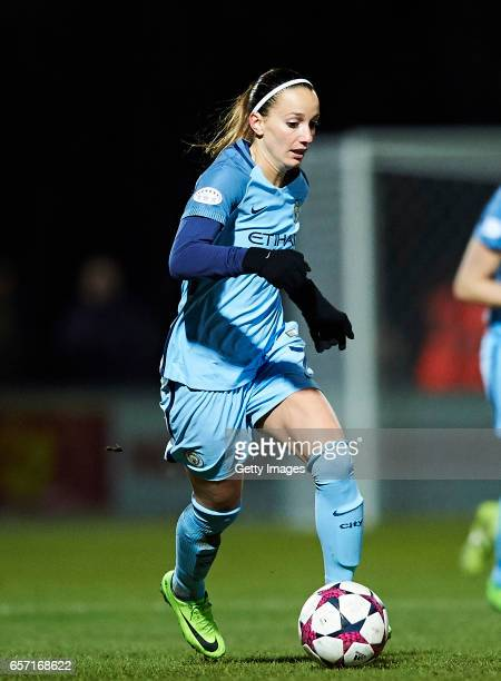 Kosovare Asllani of Manchester City controls the ball during the UEFA Women's Champions League match between Fortuna Hjorring and Manchester City at...