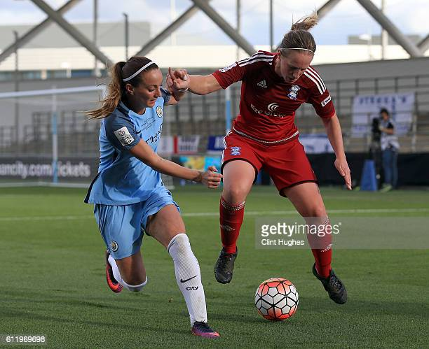 Kosovare Asllani of Manchester City Women and Kerys Harrop of Birmingham City Ladies battle for the ball during the Continental Cup Final between...