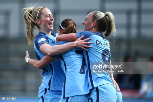 Kosovare Asllani of Manchester City Women celebrates after scoring a goal to make it 11 during the UEFA Women's Champions League semi final first leg...