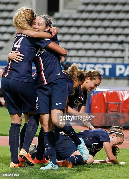 Kosovare Asllani of Paris SaintGermain celebrates his goal with Fatmire Alushi and team matte during the Women Division 1 between Paris SaintGermain...