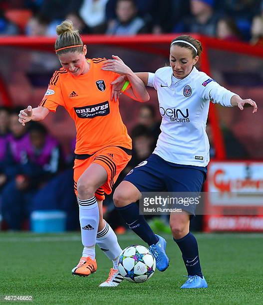 Kosovare Asllani of Paris SaintGermain takes on Leanne Ross of Glasgow City during the UEFA Woman's Champions League Quarter Final match between...