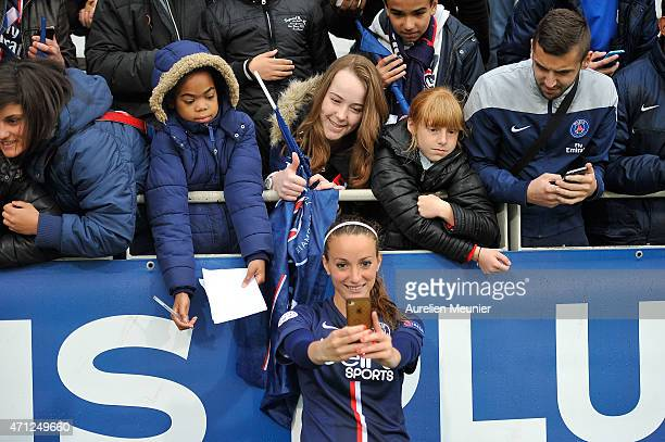 Kosovare Asllani of PSG celebrates the 21 victory over Wolfsburg during the UEFA Womens Champions League Semifinal game between Paris Saint Germain...