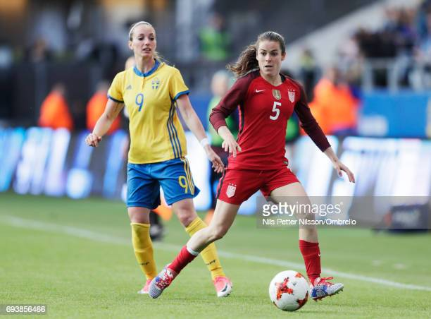 Kosovare Asllani of Sweden and Kelley O'Hara of USA during the international friendly between Sweden and USA at Ullevi Stadium on June 8 2017 in...
