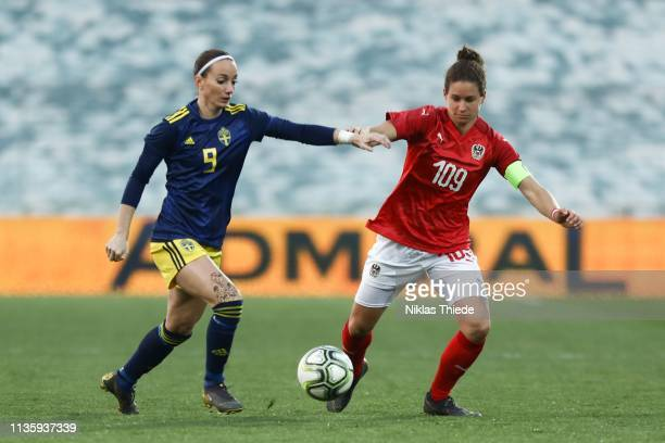 Kosovare Asllani of Sweden and Nina Burger of Austria during the Austria v Sweden Women's International Friendly at BSFZ Suedstadt on April 9 2019 in...