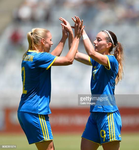 Kosovare Asllani of Sweden celebrate with team mates the goal during the International Women's Friendly match between South Africa and Sweden at Cape...
