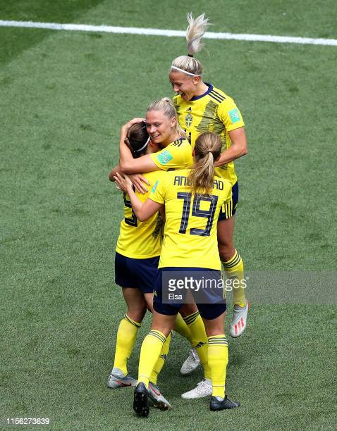 Kosovare Asllani of Sweden celebrates with teammates after scoring her team's second goal during the 2019 FIFA Women's World Cup France group F match...