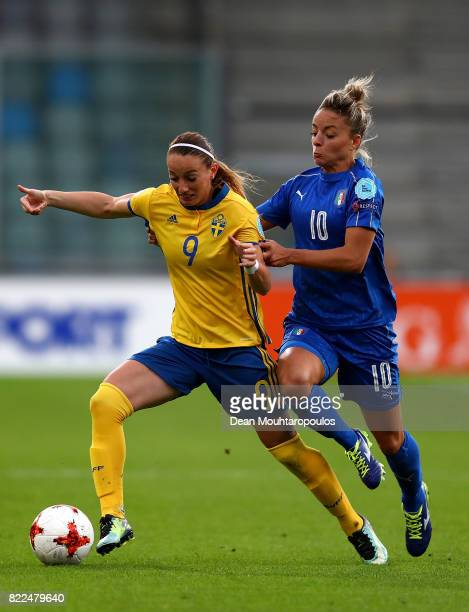 Kosovare Asllani of Sweden holds off the challenge of Martina Rosucci of Italy during the UEFA Women's Euro 2017 Group B match between Sweden and...