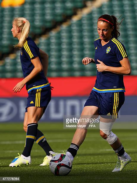 Kosovare Asllani of Sweden in action during a training session at Commonwealth Stadium on June 15 2015 in Edmonton Canada