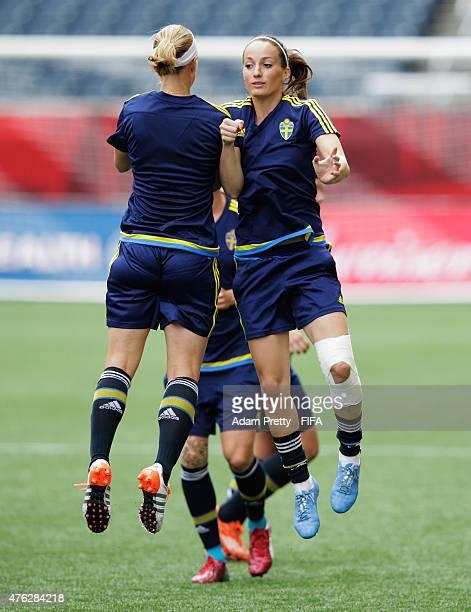 Kosovare Asllani of Sweden in action during Sweden training at Winnipeg Stadium on June 7 2015 in Winnipeg Canada