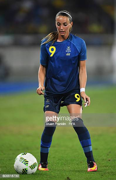 Kosovare Asllani of Sweden in action during the Olympic Women's Football match between Brazil and Sweden at Olympic Stadium on August 6 2016 in Rio...