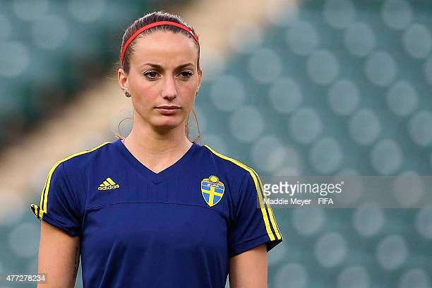 Kosovare Asllani of Sweden looks on during a training session at Commonwealth Stadium on June 15 2015 in Edmonton Canada