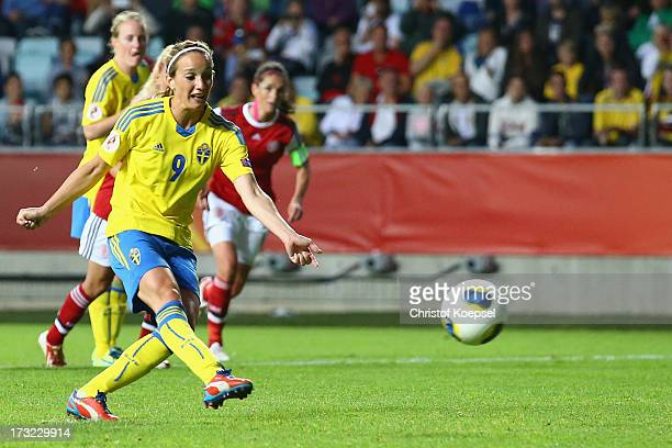 Kosovare Asllani of Sweden misses te second penalty during the UEFA Women's EURO 2013 Group A match between Sweden and Denmark at Gamla Ullevi...