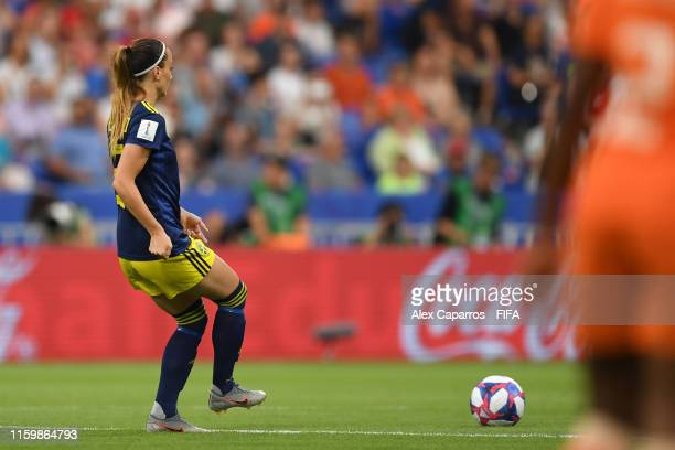 Kosovare Asllani of Sweden passes the ball for kick off during the 2019 FIFA Women's World Cup France Semi Final match between Netherlands and Sweden...