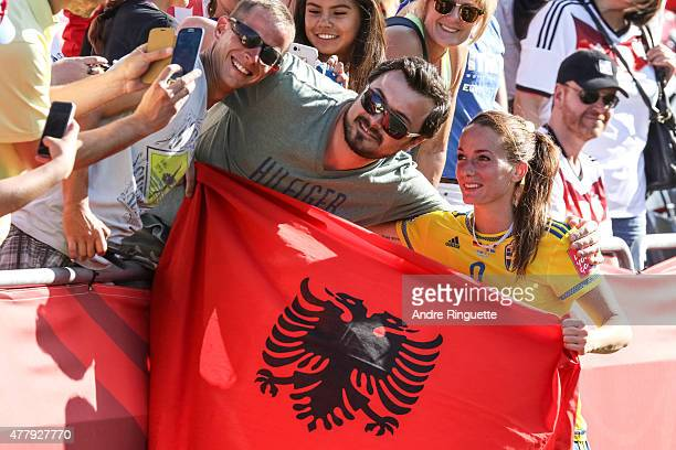 Kosovare Asllani of Sweden poses for a photo with fans after a loss in the FIFA Women's World Cup Canada 2015 round of 16 match between Germany and...