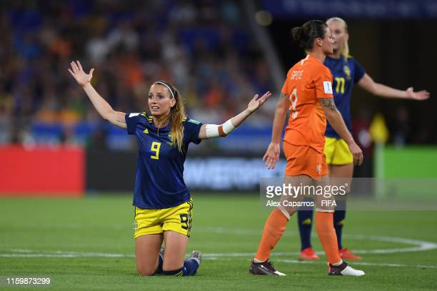 Kosovare Asllani of Sweden reacts during the 2019 FIFA Women's World Cup France Semi Final match between Netherlands and Sweden at Stade de Lyon on...