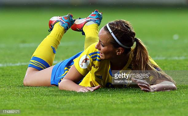 Kosovare Asllani of Sweden reacts during the UEFA Women's Euro 2013 semi final match between Sweden and Germany at Gamla Ullevi on July 24 2013 in...