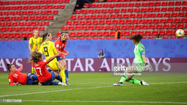 Kosovare Asllani of Sweden scores her team's first goal during the 2019 FIFA Women's World Cup France group F match between Chile and Sweden at...