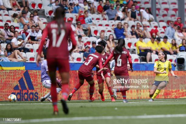 Kosovare Asllani of Sweden scores her team's second goal during the 2019 FIFA Women's World Cup France group F match between Sweden and Thailand at...