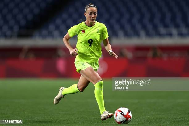 Kosovare Asllani of Team Sweden runs with the ball during the Women's Quarter Final match between Sweden and Japan on day seven of the Tokyo 2020...