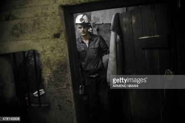 Kosovo Albanian miners work in the Stari Trg Trepca mine on March 12 2014 The centrepiece lead and zinc mine of Trepca complex in northern Kosovo...