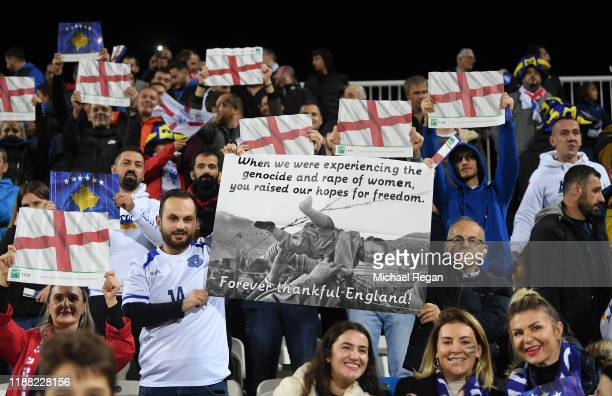 Kosovo fans hold up a banner prior to the UEFA Euro 2020 Qualifier between Kosovo and England at the Pristina City Stadium on November 17 2019 in...