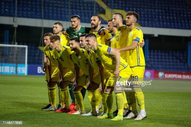 Kosovo lineup before the 2020 UEFA European Championships group A qualifying match between Montenegro and Kosovo at Podgorica City Stadium on June 7...