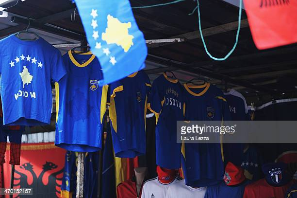 Kosovo national football shirts are displayed in a market place the day after the parade for the sixth anniversary of Kosovo's declaration of...