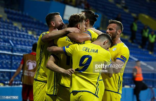 Kosovo players celebrate during the 2020 UEFA European Championships group A qualifying match between Montenegro and Kosovo at Podgorica City Stadium...