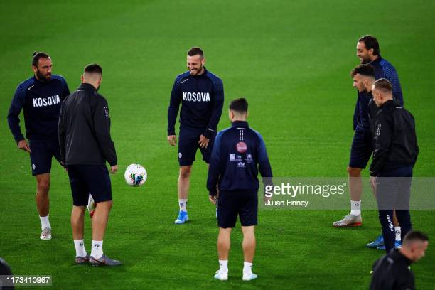 Kosovo players take part in a Kosovo training session at St. Mary's Stadium on September 09, 2019 in Southampton, England.