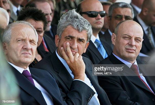 Kosovo President Fatmir Sejdiu French Defence Minister Herve Morin and Kosovo Prime Minister Agim Ceku attend a KFOR change of command ceremony 31...