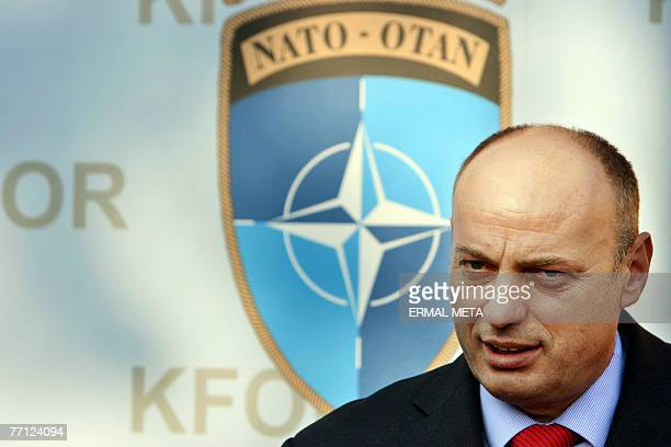 Kosovo Prime Minister Agim Ceku talks to the media after meeting with Special Representative of the Secretary General at the United Nations Mission...
