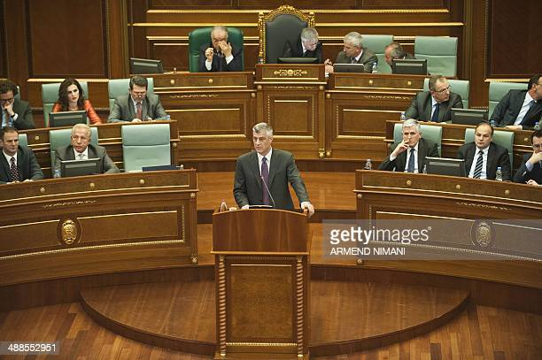 Kosovo prime minister Hashim Thaci speaks to lawmakers attending a special parliamentary session in Pristina on May 7 to dissolve the current...