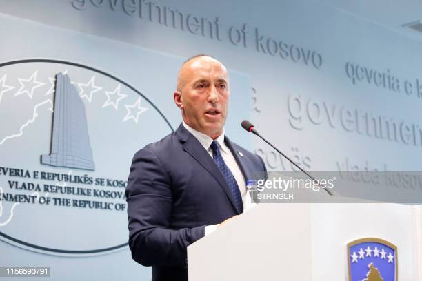 Kosovo Prime Minister Ramush Haradinaj speaks during a press conference at the government headquarters in Pristina on July 19 after he resigned for...