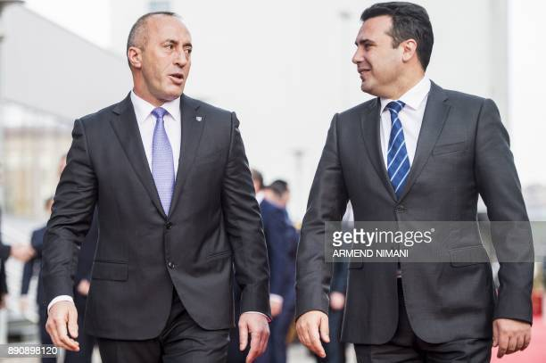 Kosovo Prime Minister Ramush Haradinaj welcomes his Macedonian counterpart Zoran Zaev during a welcoming ceremony on December 12 2017 in Pristina...