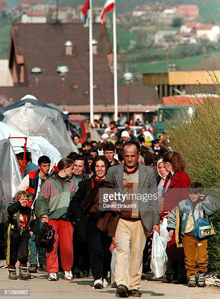 Kosovo Refugees Arrive In Albania At The Morini Border Crossing Monday April 5 1999 Into The Back Of A Tractor According To Unhcr Estimates More Than...
