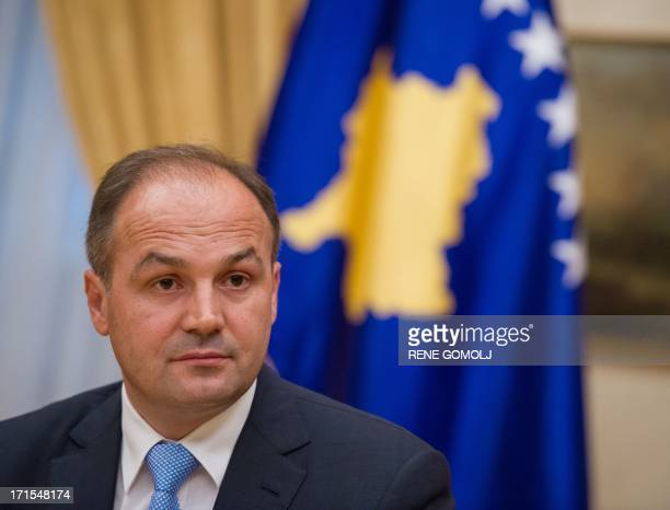Kosovo's foreign minister Enver Hoxhaj holds a press conference with his Slovenian counterpart on June 26 2013 in Brdo pri Kranju near Ljubljana AFP...