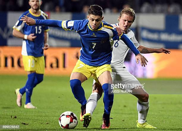 Kosovo's Milot Rashica and Finland's Aleksander Ring vie for the ball during the World Cup 2018 qualifying football match Finland vs Kosovo on...