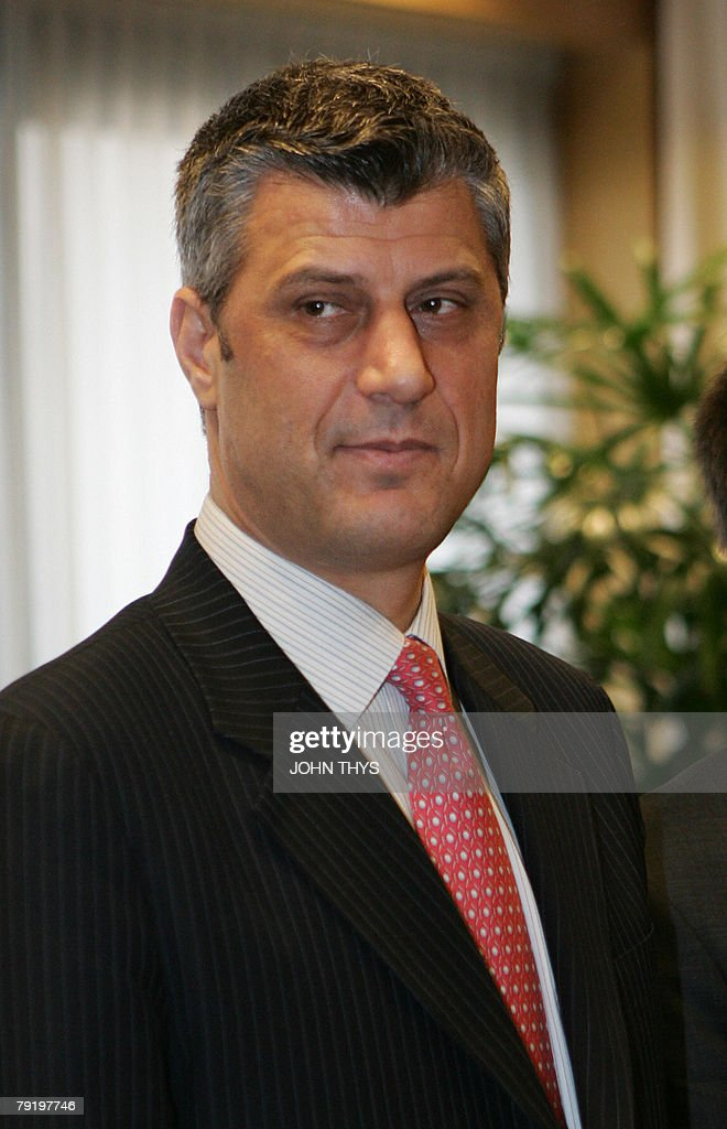 Kosovo's Prime Minister Hashim Thaci poses (C) prior to their bilateral meeting, with Eu Foreign Policy Chief Javier Solana (out of camera range) 24 January 2008, at the EU Council Headquarters in Brussels. Kosovo's declaration of independence is a matter of days away, the Serbian province's Prime Minister Hashim Thaci said Thursday. 'It is an issue of days,' the Kosovo leader told reporters after meeting with EU foreign affairs chief Javier Solana in Brussels.