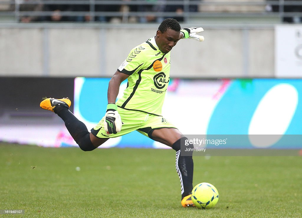 Kossi Agassa, goalkeeper of Reims in action during the french Ligue 1 match between Stade de Reims and AS Saint-Etienne at the Stade Auguste Delaune on February 17, 2013 in Reims, France.