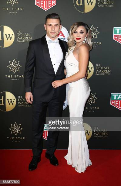 Kosta Barbarouses and Tara Sharples arrive ahead of the FFA Dolan Warren Awards at The Star on May 1 2017 in Sydney Australia